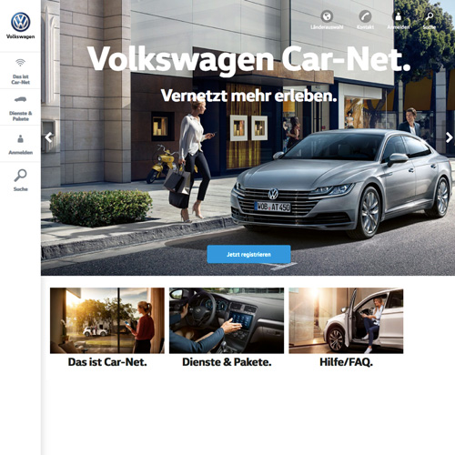 Website relaunch for Volkswagen: a glimpse at the redesign of the Car-Net microsite for international rollout