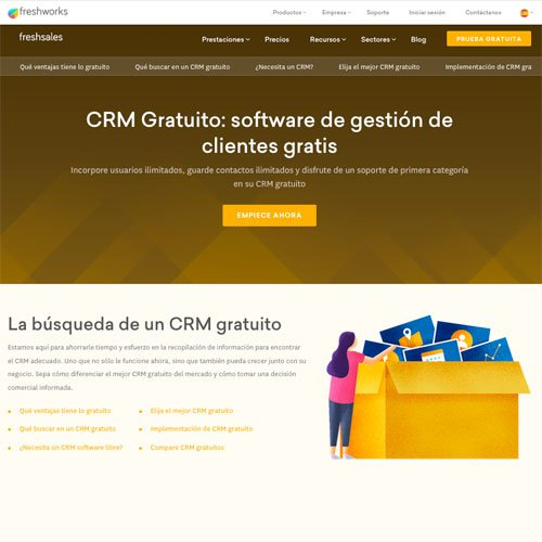 Screenshot of the Freshsales landing page for the Spanish market